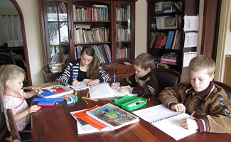 homeschool in the dining room