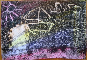 etched wax crayon picture