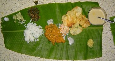 Banana leaf with Indian foods