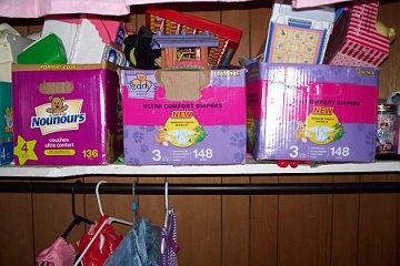 Diaper boxes for toy storage